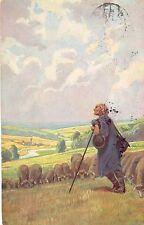 Hirte, Schafe, Landschaft, Volksliederkarte Nr. 36, sign. Paul Hey,