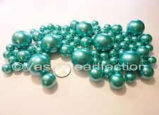 80 Jumbo& Assorted Sizes TURQUOISE Pearls/TEAL BLUE Pearls Vase Fillers Value Pk