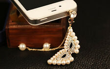 New Crystal Rhinestone Pearl Mask Phone Headset Dust Plug Phone Cell Phone HI