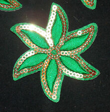 green flower sequin Motif Lace Wedding Dance costume Sew On hotfix Applique
