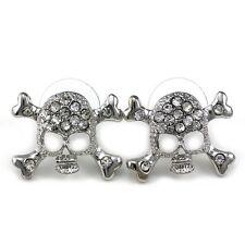 Skull Stud Post Earrings Cross Bones Silver Tone Clear Crystal Fashion Jewelry b