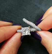 2.49 Ct Princess Cut Diamond Micro Pave Engagement Ring Set E,VVS2 GIA Platinum