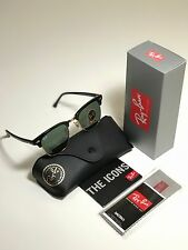 New Ray-Ban Clubmaster Classic RB3016 W0365 49mm Black Frame G15 Green Lens