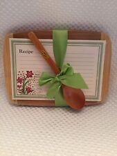 Alice's home & cottage wooden cutting board, floral recipe cards & wooden spoon