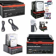 DOCKING STATION HARD DISK 3,5 2,5 SATA IDE 3 HDD BOX CASE USB SD CLONE FUNCTION