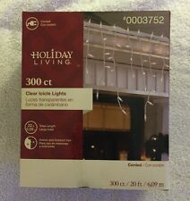NIB Holiday Living 300 Icicle Lights Clear/White 20ft Length Wedding/Party/Garde