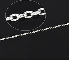 10M Pop Silver Plated Textured Cable Link Chain 3x2mm