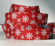 """Snowflakes on Country Red  7/8"""" grosgrain ribbon 4 yards decor crafts hair bows"""