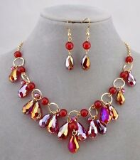 Red AB Glass Bead Bib Necklace Earrings Set Gold Fashion Jewelry NEW