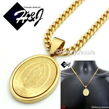 """20""""Stainless Steel 4.5mm Gold Cuban Curb Chain Necklace VIRGIN MARY Pendant*GP26"""