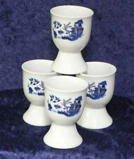 Blue willow egg cups eggcup porcelain set of 4 boxed