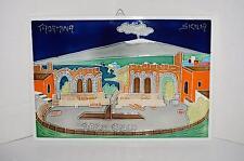 """Taormina Sicilia Teatro Greco Ancient Theatre Ceramic Enamel Tile Plaque 11""""x 8"""""""