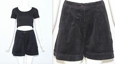 "Vintage 1990's Black HIGH WAISTED CORD GOTH GRUNGE Shorts Size 8 10 24"" - 26"""