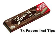7x SMOKING PAPERS BROWN, KING SIZE incl. FILTER-TIPS, worldwide shipping