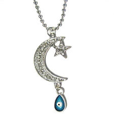 """Teardrop Evil Eye with Crescent Moon Crystal Pendant Silver Plated 24"""" Necklace"""