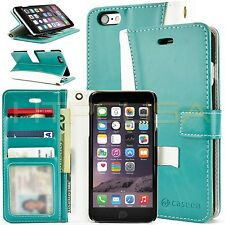 Teal/White iPhone 6 Plus Luxury Leather ID Card Wallet Case Cover [Lot of 4]