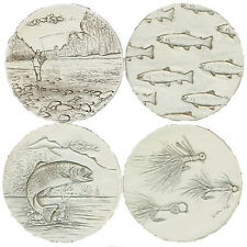 Set of 4 Fly Fishing Super Absorbent Stoneware Drink Coasters Nautical Tropical