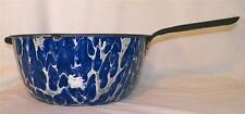 Blue & White Graniteware Pot Cooking Pan Large Kitchen Vintage As Is Condition