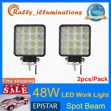 Pair 48W Spot Led Work Light Boat 10-30V Tractor Truck Offroad SUV 4WD Car 12V