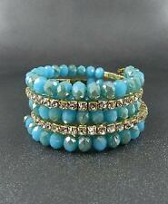 Blue Faceted Glass Bead Rhinestone Clear crystal Memory Wire Bracelet