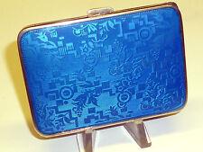 VINTAGE STERLING ARGENTO SIGARETTA CASE CON GLASS BLU SMALTO - 1930/1940 -RARO