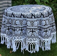 Black & White Circular 100% Cotton Round Tablecloth ETHNIC Wrap FRINGES Throw