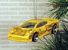JAGUAR XJ220 YELLOW BLUE SPORTS CAR CHRISTMAS ORNAMENT XMAS