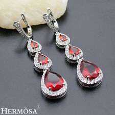 New Hermosa® 925 Sterling Silver Fire Red Garnet Topaz Charm Women Earrings