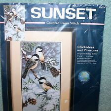 CHICKADEES AND PINECONES  cross stitch kit SUNSET Dimensions   NIP