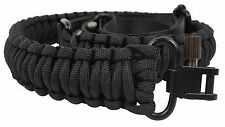Black 550 Paracord Rifle Shotgun Crossbow Gun Sling Strap Adjustable Swivels