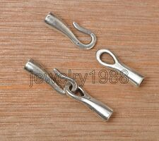 10pcs Tibetan Silver Hook Connector Findings For Necklace 34x5mm F3371