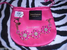 Juicy Couture Cluster Flower Cabochon Fuchia Rhinestone Gold Bracelet $68 NEW