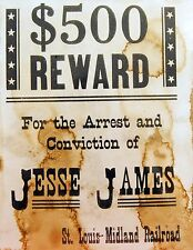Jesse James - Outlaw - Historic Western Wanted Reward Poster Reproduction
