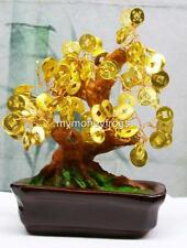 NEW GOLD Golden Oriental Japanese Feng Shui Lucky Chinese Bonsai Money Tree #GM