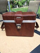 Vintage Brown Leather Look Hard SLR Camera Case w/ Latch Strap - Stamped Italy
