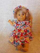 "Expressions Doll Pouty Face Small Girl Red Floral Dress Hat 8"" Sad"