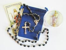 Two Wood Bead Rosaries in 2 Piece Case of Mary & Jesus