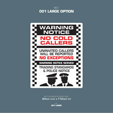 SKU001L - No Cold Callers - Front Door Letter Box Sign / Sticker - 90mm x 112mm