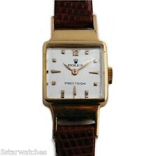 Vintage 1940's 18k Gold Classic Ladies Rolex Watch on Leather Band     ロレックス
