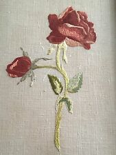 Antique Silk Needlework Sampler Style Embroidery Work Framed Rose Late 1800s