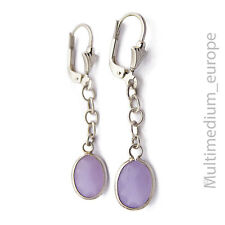 925 er Silber Ohrringe Glas fluss lila paste sterling silver earrings purple