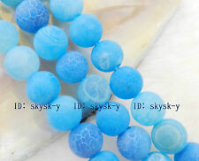 8mm Blue Dream Fire Dragon Veins Agate Round Gems Loose Beads 15""