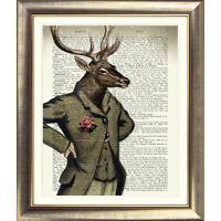 ART PRINT ON ORIGINAL ANTIQUE BOOK PAGE STAG Animal DEER Old DICTIONARY Picture
