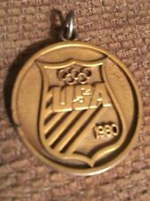 1980 XXII Olympiad USOC Contributor Pendant Gold Medal Vintage Olympic Games