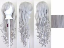Silver 80cm Women Long Curly Wavy Hair Wig Fashion Costume Party Anime Cosplay