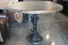 "48"" Round dining table crank industrial old solid mango wood heavy iron base"