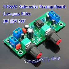 DC 12V-24V Low-pass Filter NE5532 Subwoofer Process Pre-Amplifier Preamp Board