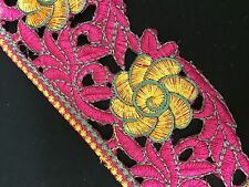 70mm Embroidered Floral Trim/Lace x 1m