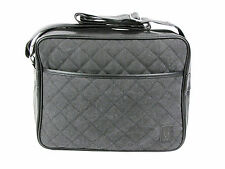 Mens Voi Jeans CALIBER Quilted Airliner Satchel Messenger Shoulder Bag Grey