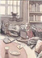 ACEO Watercolor Original Girl Wolf Studying On the Floor Monochrome